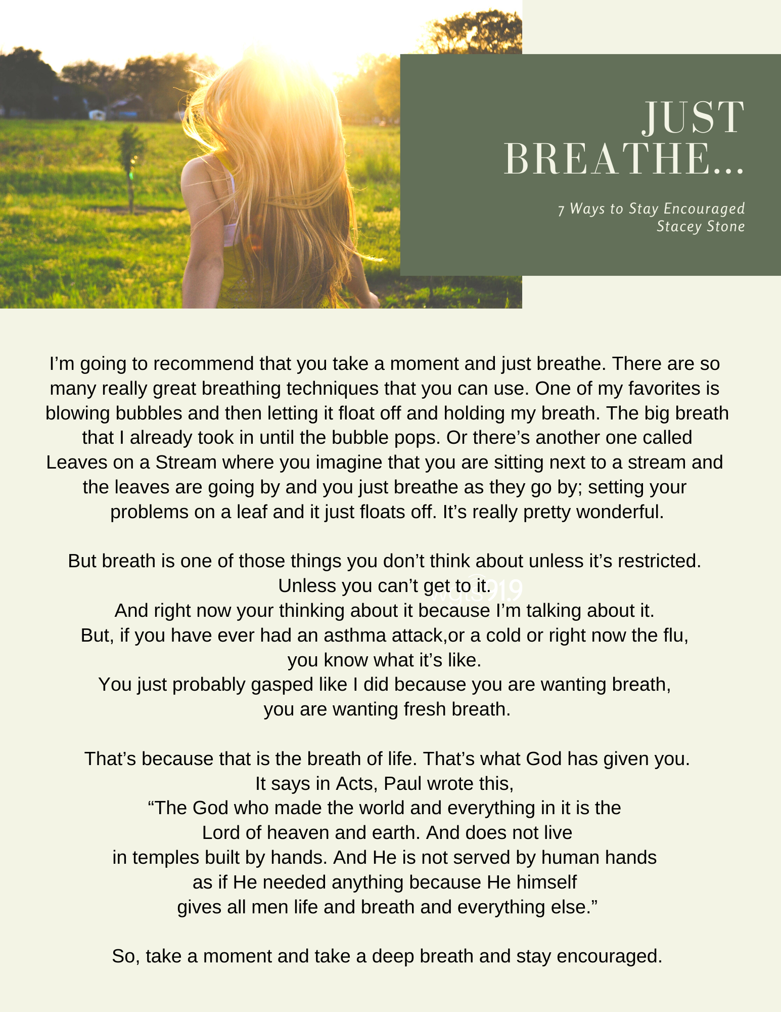 just breathe - 7 ways to stay encouraged transcript