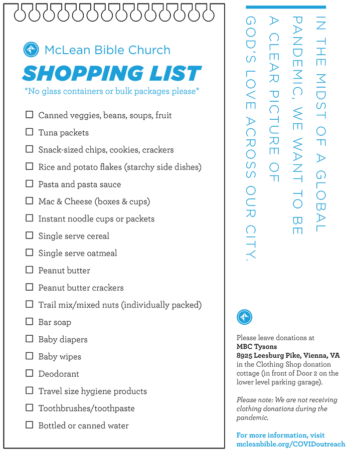 mclean shopping list