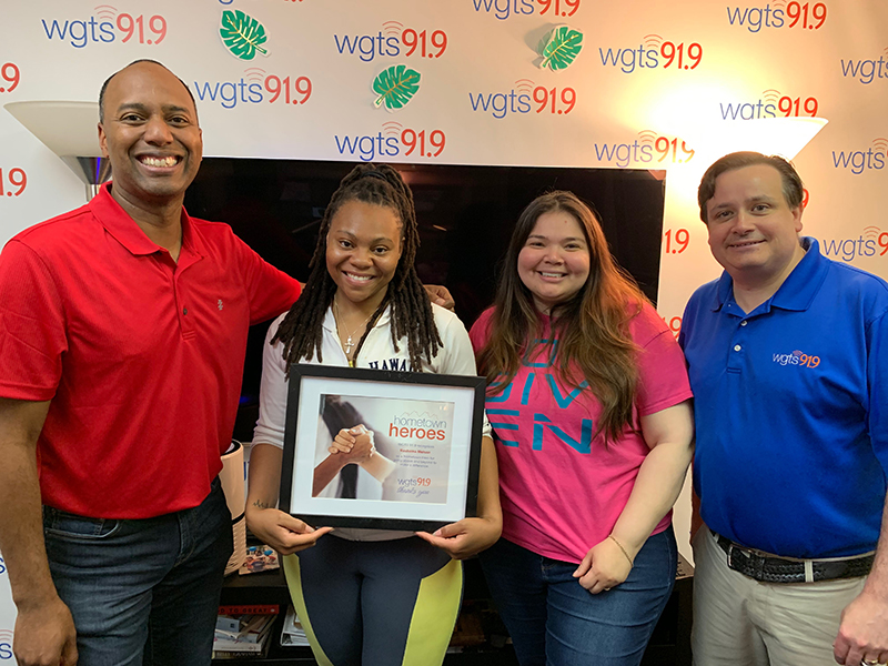 rashema melson with jerry blanca and spencer at wgts 91.9